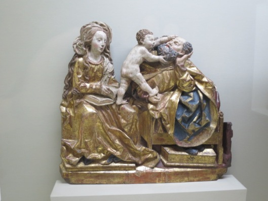 The Holy Family displaying a dose of good humour at the Musée de Cluny, Paris.